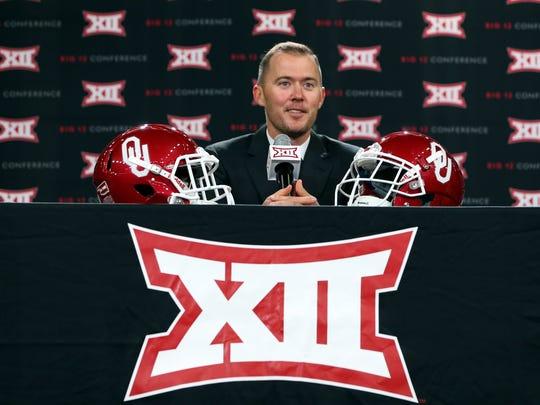 Oklahoma Sooners head coach Lincoln Riley speaks at Big 12 media days in Frisco, Texas.