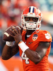 Deshaun Watson  of the Clemson Tigers warms up prior