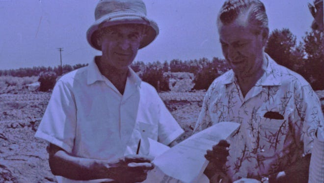 L to R: Architect Albert Frey and the first College of the Desert president, Roy McCall, look over plans for the campus.