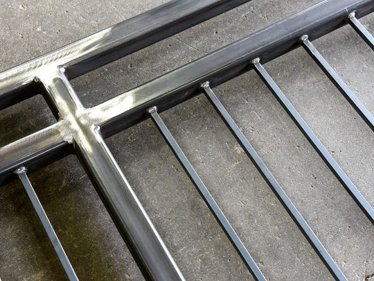A newly-constructed custom railing at Netter's Welding