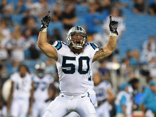 Carolina Panthers linebacker Ben Boulware plays against the Houston Texans during the 2nd half of their preseason game at Bank of America Stadium on Wednesday, August 9, 2017.