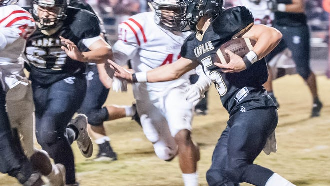Kaplan's Matt Roden looks to gain the first down as the Pirates host Richwood in the LHSAA Class 3A semifinal game Friday Dec.1, 2017.
