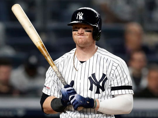 New York Yankees' Clint Frazier reacts after he struck out looking during the sixth inning of a baseball game against the Seattle Mariners, Wednesday, May 8, 2019, in New York. (AP Photo/Kathy Willens)