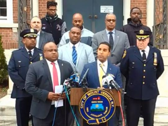 Mount Vernon Mayor Richard Thomas discusses the death of a 2-year-old boy and arrest of the boy's father, Lloyd Scott, during a news conference on April 17, 2017, the day after the boy's death.