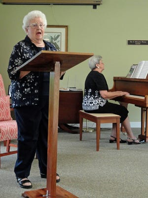 Vocalist Claudia Deen is accompanied on piano by her sister, Ann Grubb. The duo will be roommates at the upcoming Southern Gospel School of Music at MTSU.
