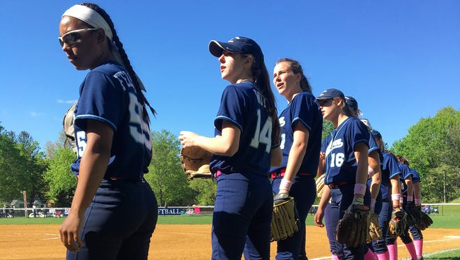 Suffern softball players prepare to take on Tappan Zee in their annual Breast Cancer Awareness game on May 3, 2017.