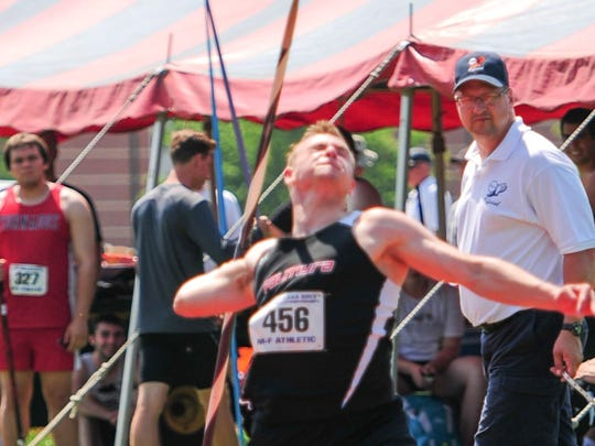 Palmyra's Alex Hoffsmith grabbed an eighth-place medal in the AAA boys javelin with a school-record throw of 188-8.
