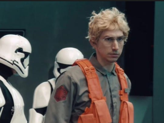 "Kylo Ren arrives at Starkiller Base as he goes under cover as Matt, the radar technician."" in the ""Saturday Night Live"" sketch."