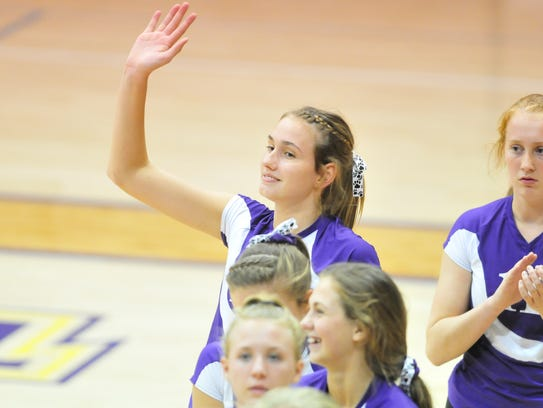 Hagerstown's Regan Tinkle during a volleyball match