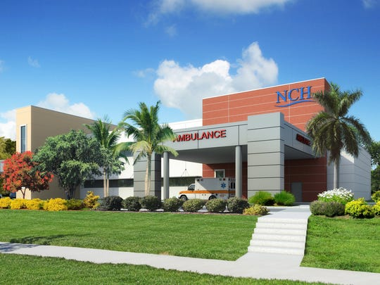 A rendering of NCH Healthcare Bonita, which is expected to open in December. This rendering shows the facility facing U.S. 41 to the east.