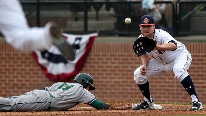 Auburn first baseman Niko Buentello had 10 RBIs in the weekend series against Sacramento State. Auburn dropped the final two games of the opening weekend series for the 2016 season.