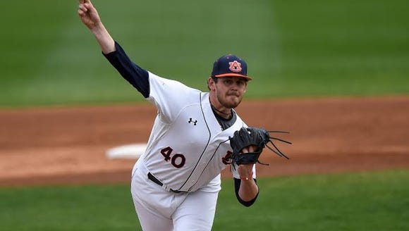 Auburn starting pitcher Gabe Klobosits could only get