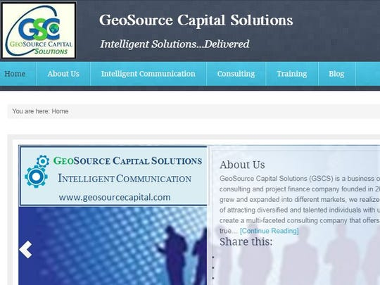 A screenshot from 2013 of GeoSource Capital Solutions' website. The site no longer exists.