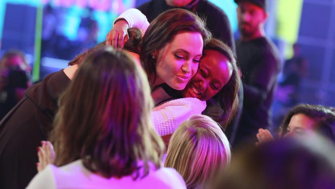 Angelina Jolie is seen in the audience at Nickelodeon's 28th annual Kids' Choice Awards at The Forum on Saturday, March 28, 2015, in Inglewood, Calif.