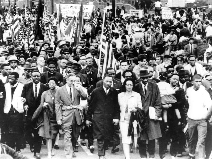 Marchers including the Rev. Martin Luther King Jr.