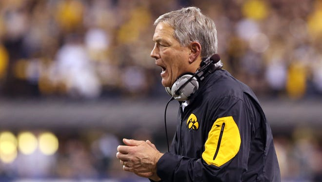 Iowa football coach Kirk Ferentz was the winner of the Dodd Trophy as college football's coach of the year in 2015.