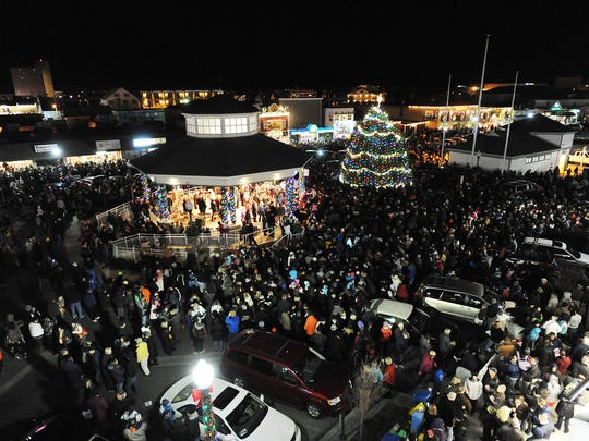 In this file photo, the tree is seen from the top of Thrasher's French Fries at Rehoboth Beach's 2014 Christmas tree lighting.