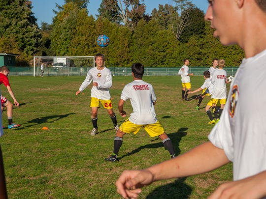 Synergy's Jonathan Sargent, left, and Hunter Pelkey practice during a training session last week at Centennial Field.