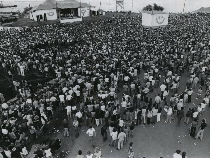 A view of the Summerfest crowd in 1972, two years after