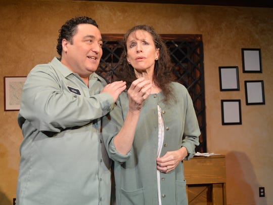 Damian Muziani  is Artie Shaughnessy and  Susan Chase is  Bananas Shaughnessy in 'House of Blue Leaves,' on stage now in Camden.