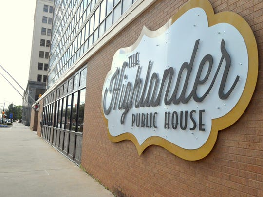 The Highlander Public House, housed in the first floor of the former Petroleum Building, sits at the corner of Eighth Street and Scott Avenue. Developer Will Kelty is working toward turning the upper floors into dorm-style housing for Midwestern State University students.