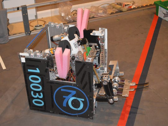 The robot used by 7 Sigma FTC 10030 of Anderson Township for competition last season.