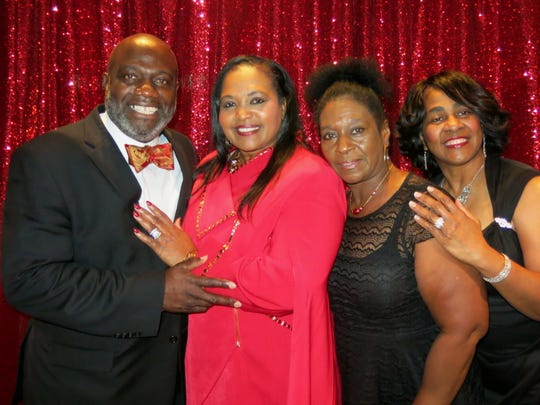 Bishop Terrance Trammell and wife, and Anna Trammell, Joyce Rogers, Mary Moton  at birthday party.