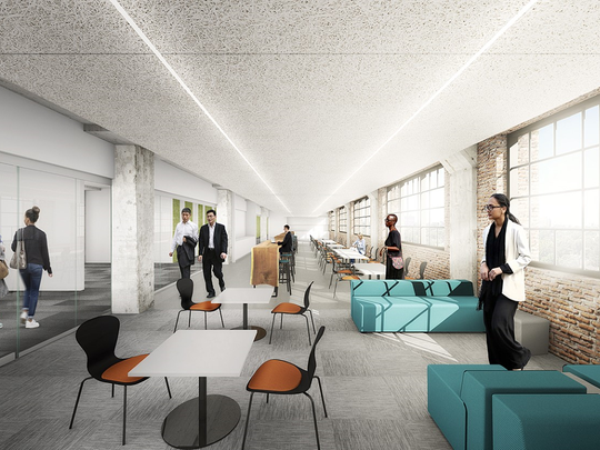 Architectural rendering of Methodist Le Bonheur Healthcare space in Crosstown Concourse.