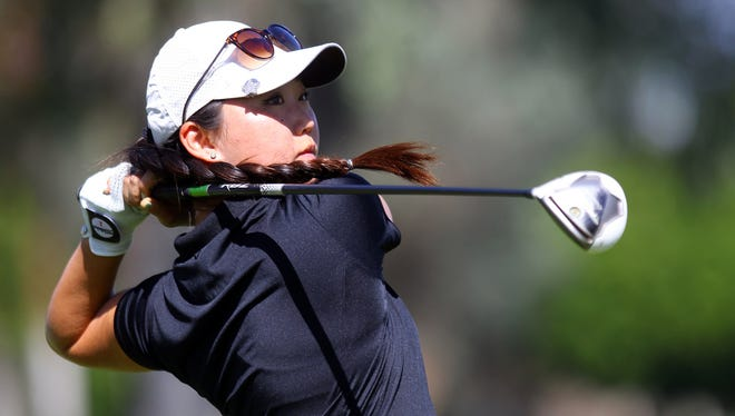Jiyoon Jang of Rancho Mirage hits her tee shot on the 16th tee Monday, March 28, 2016, during the 2016 ANA Junior Inspiration golf tournament on the Arnold Palmer Course of Mission Hills Country Club in Rancho Mirage, Calif. Jang is a senior at Palm Desert High School.