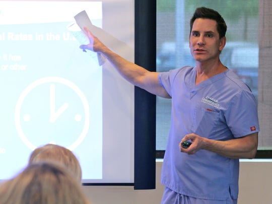 Dr. Timothy Jochen explains to a group of local hairstylists how to identify the early signs of skin cancer, Monday, at Contour Dermatology in Rancho Mirage. Skin cancer is currently the most common type of cancer in the United States.
