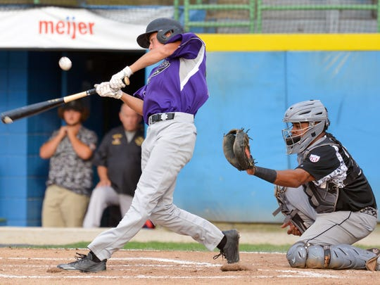 BC Merchants Drake Ellens at bat during Wednesday night's