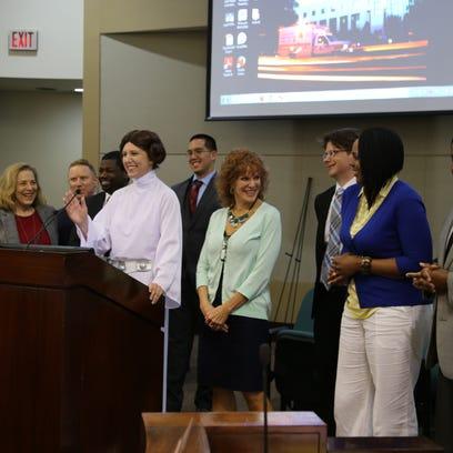 Leon County Commissioner Kristin Dozier dons a Princess