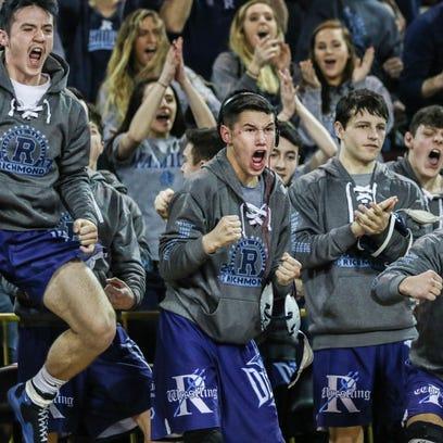 Richmond wrestlers cheer on their teammate David Kaltz