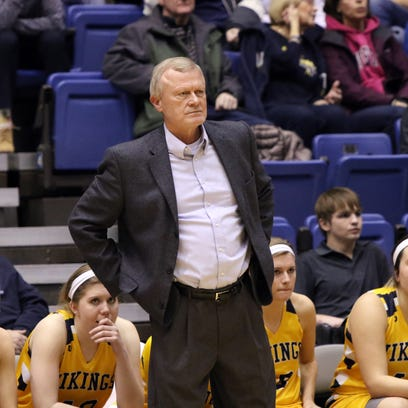 Augustana Head Coach Dave Krauth looks on during Friday's