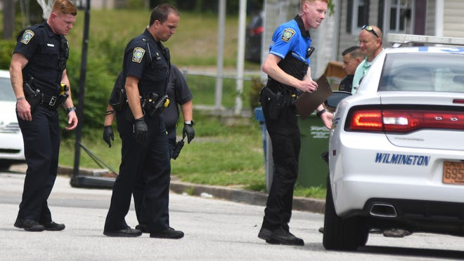Officers with the Wilmington Police Department investigate a shooting on Hanover St. near the intersection of McRae St. in Wilmington, N.C., Thursday, June 4, 2020.