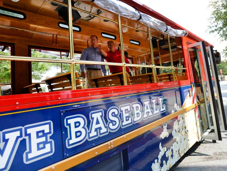 One of Greenville's new downtown trolleys.