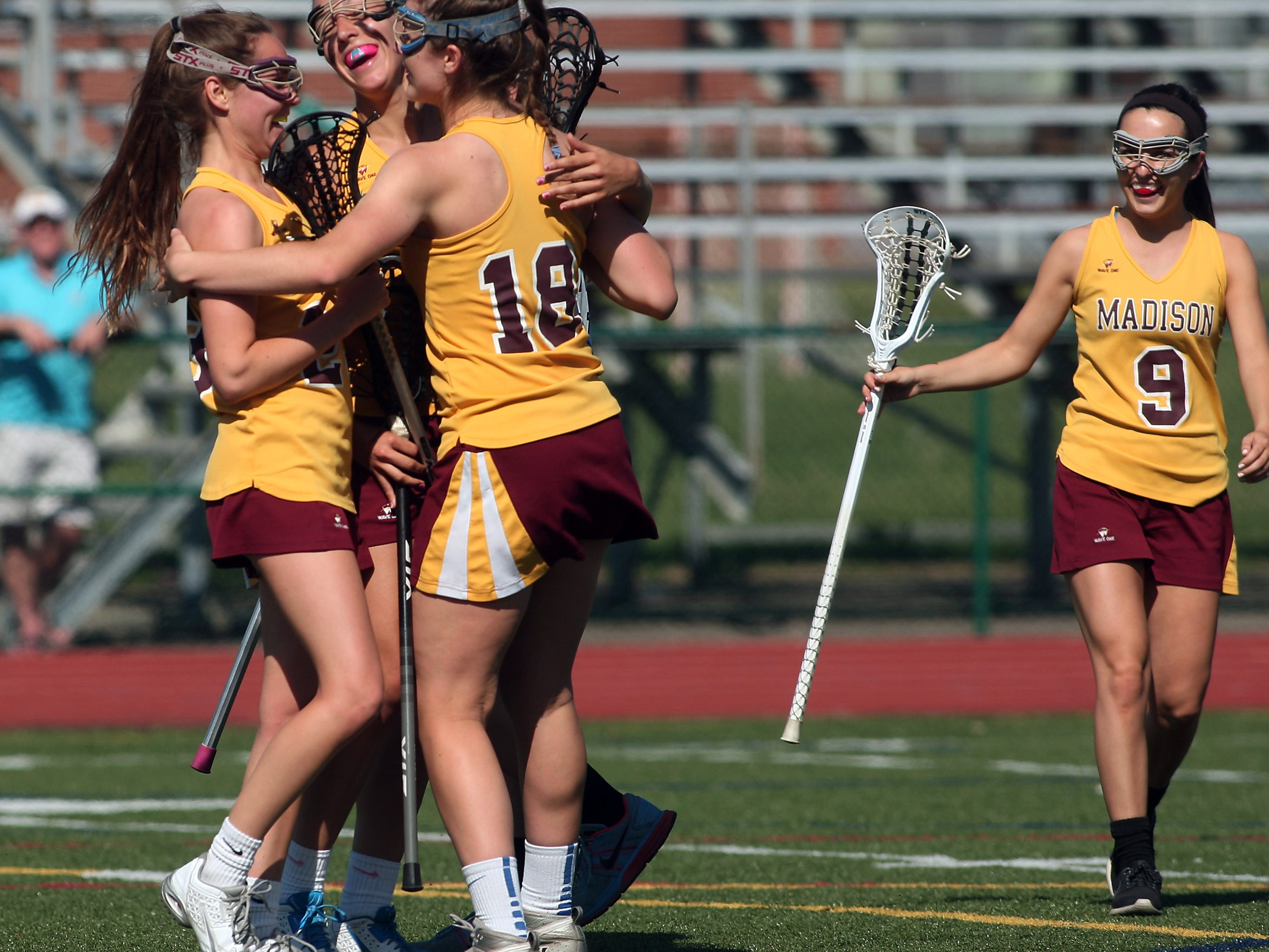 Madison celebrates after a goal against Caldwell during their North Group II Tournament game on Thursday at Madison.