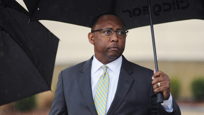Former Corrections Commissioner Chris Epps leaves the U.S. Courthouse in Jackson after pleading guilty to two federal corruption charges.