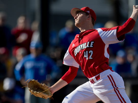 Louisville Cardinal pitcher Reid Detmers (42) pitches