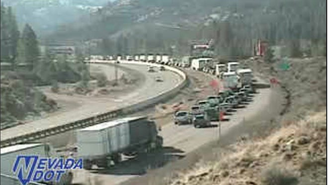 A Nevada Department of Transportation webcam shows traffic backed up on I-80 westbound at Gold Ranch about 10 a.m. Sunday.