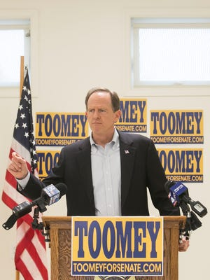 Senator Pat Toomey, speaks during his press conference at Strinestown Fire Company Wednesday, Nov. 2, 2016. Amanda J. Cain photo