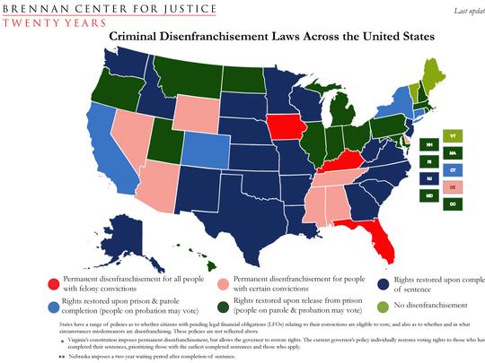 Criminal disenfranchisement laws across the U.S.