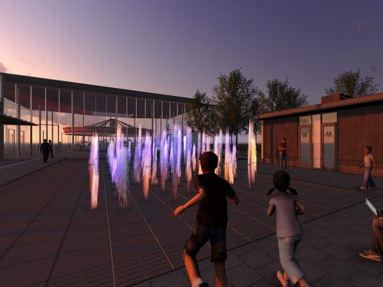 A rendering of Pichler Fountains, with Carol Ann's Carousel in the background.