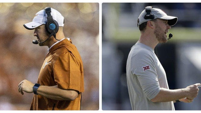Texas has finished on top of the Big 12 recruiting race four consecutive years, but it's Lincoln Riley, right, and his Oklahoma Sooners that have the conference lead heading into the season. Tom Herman, however, is ranked only one spot behind nationally.