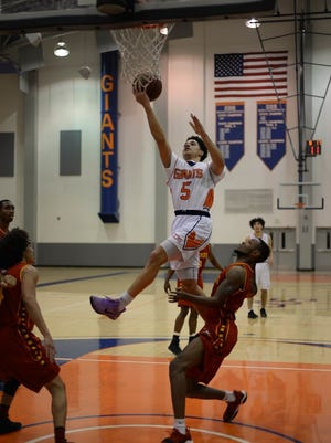 College of the Sequoias' Isaiah Johnson goes up for a layup. Johnson and the Giants host Fresno City on Saturday at Porter Field House.