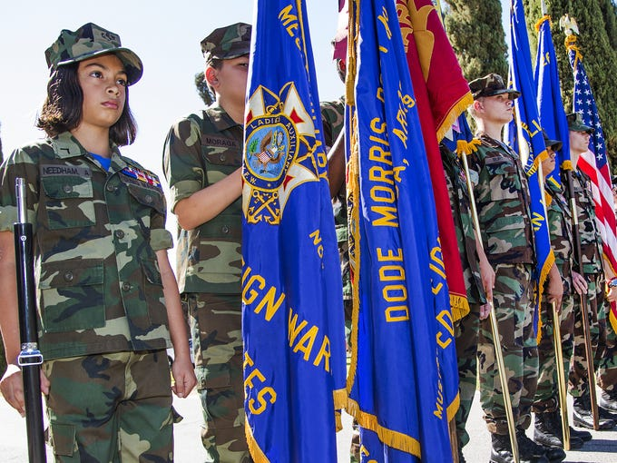 The East Valley Young Marine Color Guard prepares to