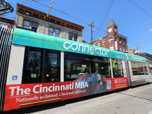 September 12, 2016: Cincinnati Bell Connector, Streetcar, downtown, Cincinnati, Liz Dufour