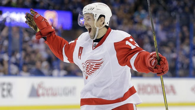 Detroit Red Wings center Pavel Datsyuk, of Russia, celebrates his goal against the Tampa Bay Lightning during the third period of Game 5 of a first-round NHL Stanley Cup hockey playoff series in Tampa, Fla. Datsyuk is expected to retire from the NHL after the playoffs.