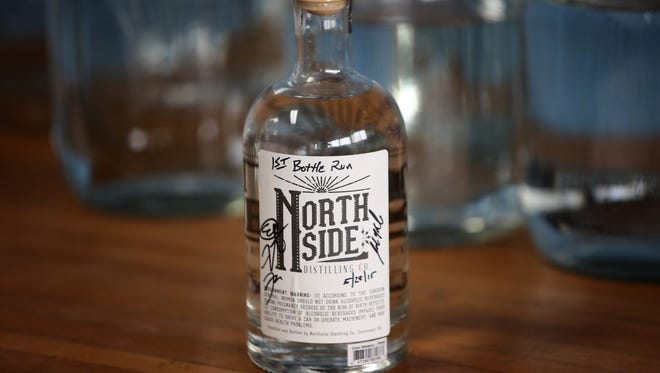 The first bottle run of clear corn whiskey made by the Northside Distilling Co.