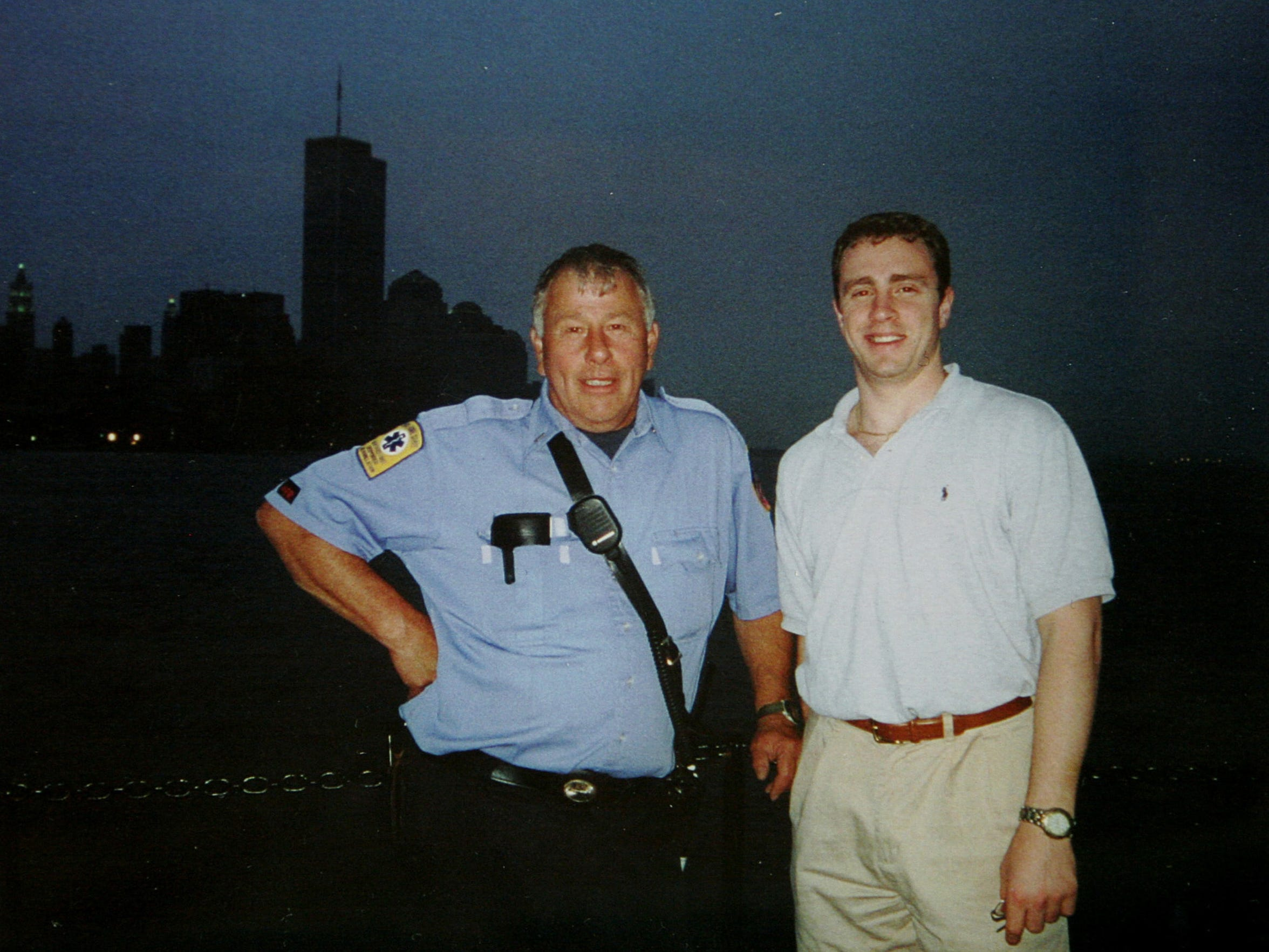 FDNY Lt. Harry Wanamaker of Upper Nyack, left, with Welles Crowther in front of the World Trade Center on June 20, 2001. Crowther died Sept. 11, 2001. Wanamaker, who worked on the rescue and recovery at ground zero, died in 2010.